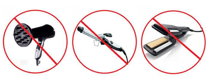 Запрет использования фена, утюжка и плойки