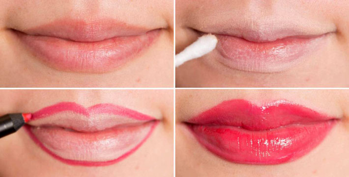 Пухлые губы с помощью макияжа